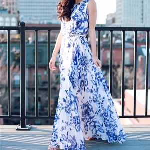 Blue and white floral pleated maxi dress